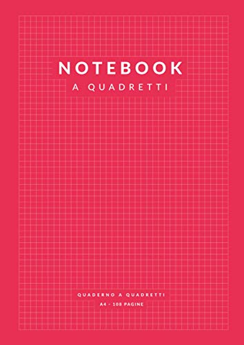 Notebook a Quadretti: 108 Pagine A4 a Quadretti 5 mm per Appunti, Matematica   Scuola Ufficio   Rosso