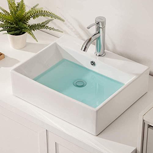 Vessel Sink Rectangle - Sarlai Modern Bathroom Vessel Sink Rectangle Wall Mounted Above White Porcelain Ceramic Vessel Vanity Sink Art Basin with Faucet Hole and Overflow