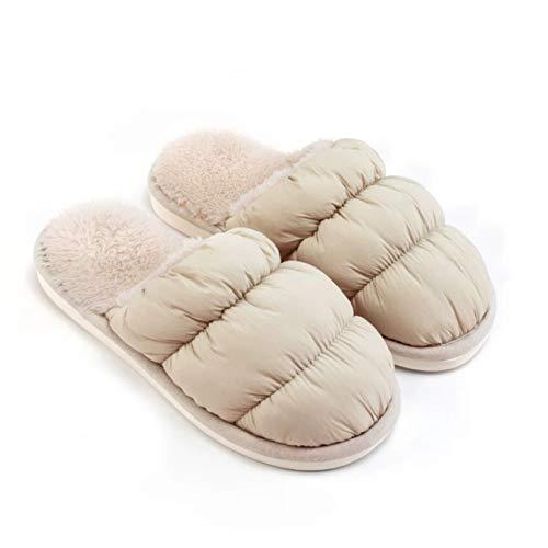 YQ Pareja de Las Mujeres otoño y del Invierno Cubierta de la Nube Inicio Zapatillas, Estudiante de Dormitorio Muebles Felpa cálido algodón Zapatillas (Color : Khaki, Size : 35-36)