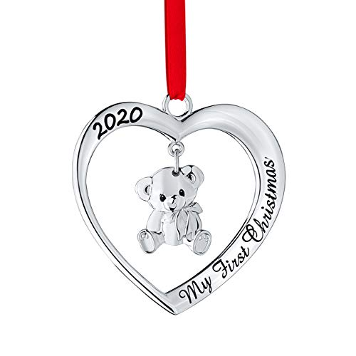 Klikel 2020 Baby's First Christmas Ornament 2020 - Silver Heart with Hanging Teddy Bear Ornament - Non-Tarnish Metal