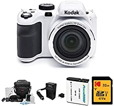 Kodak PIXPRO Astro Zoom AZ421 16MP Digital Camera (White) with Kodak 32GB SD Card, Focus DSLR Camera Accessory Kit, Vidpro Battery Charger and Replacement Lithium Ion Battery Bundle (5 Items)