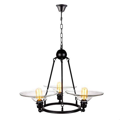 Deckenleuchte - Hängeleuchte Kronleuchter Schmiedeeisen Kronleuchter Glas Trompete amerikanischer Designer Schlafzimmer Restaurant Lampe 63 * 80cm Wohnzimmer Pendelleuchte