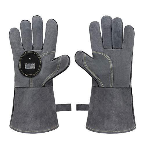 BESTonZON EIN Paar Wärmedämmhandschuhe aus Rindsleder Anti- Verbrühungs- Schutzhandschuhe für den Grill- Gartenofen (grau)