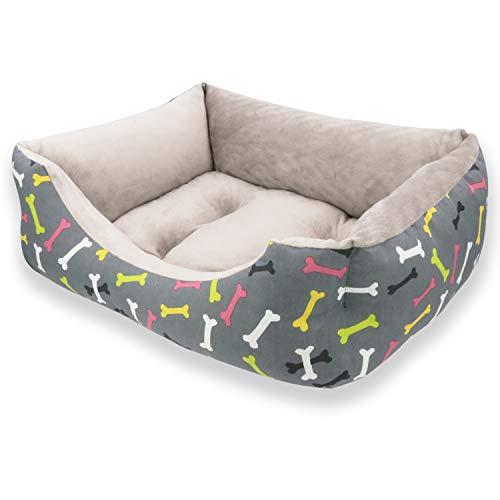 MERCURY TEXTIL- Sofá, Cesta,Cama Comoda para Perros,Gatos y Mascotas, con Relleno de Fibras Super Suave,Resistente al Desgaste y Duradero.. (Mediano, Huesos)