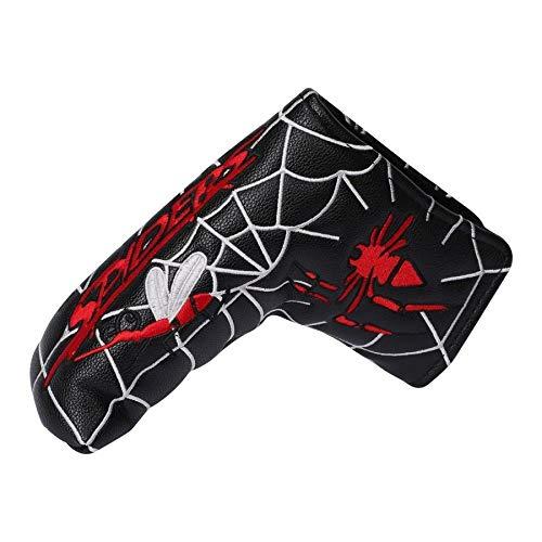 パターカバー ヘッドカバー スコッティーキャメロン オデッセイに適合 マグネット開閉式 ピンタイプ スパイダー刺繍 黒 赤 白 (黒)