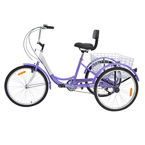 Slsy Adult Tricycles 7 Speed, Adult Trikes 20/24 / 26 inch 3 Wheel Bikes, Three-Wheeled Bicycles Cruise Trike with Shopping Basket for Seniors, Women, Men. (Light Violet, 24