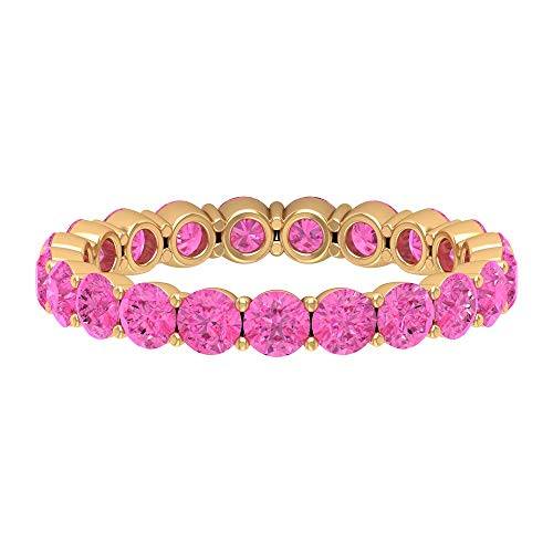 3.25 CT Lab Created Pink Sapphire Eternity Ring (AAAA Quality), 14K Yellow Gold, Size:UK S1/2