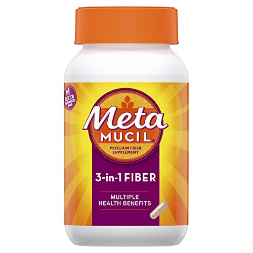 Metamucil Fiber, 3-in-1 Psyllium Capsule Fiber Supplement, 160 ct...
