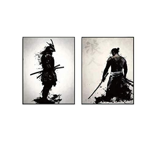 Impresión en lienzo Samurai blindado japonés Pintura en lienzo Carteles e impresiones Imágenes artísticas de pared Sala de estar moderna Decoración del hogar 40x60cm / 15.7 'x23.6' x2 Sin marco