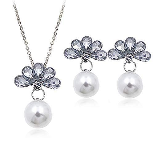 OlovdHit Collar Conjunto De Collar De Novia Colgante Pendientes De Perlas De...