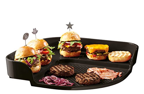 Emile Henry Eh797548 Burger Party Plaque Pour Barbecue Céramique Noir Fusain 39 X 39 X 8 cm