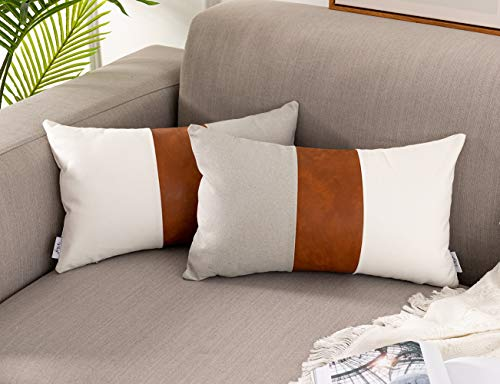 Vfuty Decorative Lumbar Pillow Covers, Pack of 2 Faux Leather Throw Pillow Covers for Couch Bed Sofa Modern Pillow Cushion Farmhouse Accent Pillow Cases 12 x 20 Inches