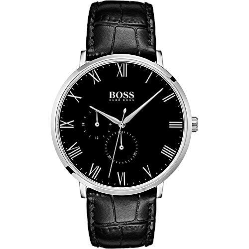 Hugo Boss heren multi-wijzerplaat kwarts horloge met lederen armband 1513616
