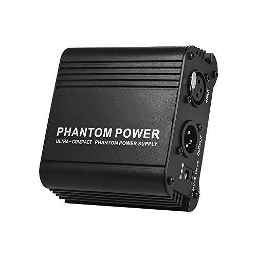 Lepeuxi Microfono ultracompatto + alimentatore phantom 48V con ingresso e uscita XLR per la registrazione di musica da studio a microfono a condensatore