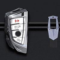 QYSMQC カーキーケースキーカバーシェルプロテクターキーホルダー。BMW X5 F15 X6 F16 G307シリーズG11X1 F48F39キーレス用金属保護スリーブ