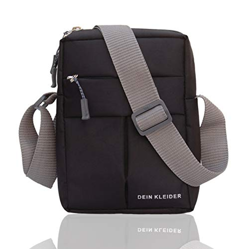 Dein Kleider Nylon Sling Cross Body Travel Office Business Messenger one Side Shoulder Pouch Bag for Men and Women (Black)