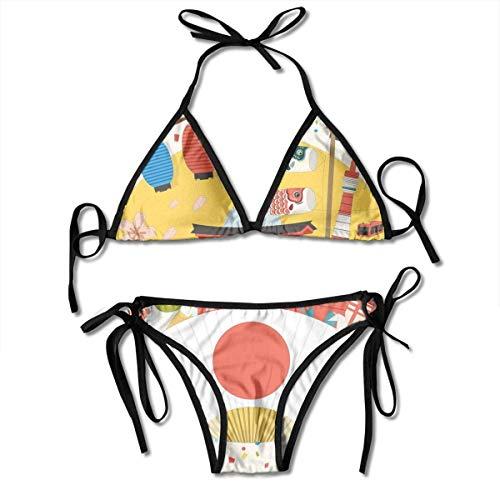 huatongxin Verstellbares Bikini-Set Halter Ladies Swimming Costume, Japanese Inspired Commercial Pattern Various Asian Culture Items Cool Cat Origami,Halter Beach Badebekleidung