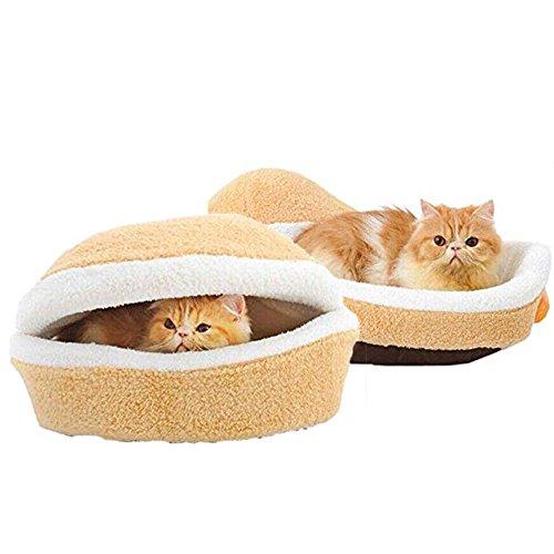 Binglinghua Cama suave para perro y gato gato con forma de hamburguesa para dormir nido cálido suave cojín cama casa (M)