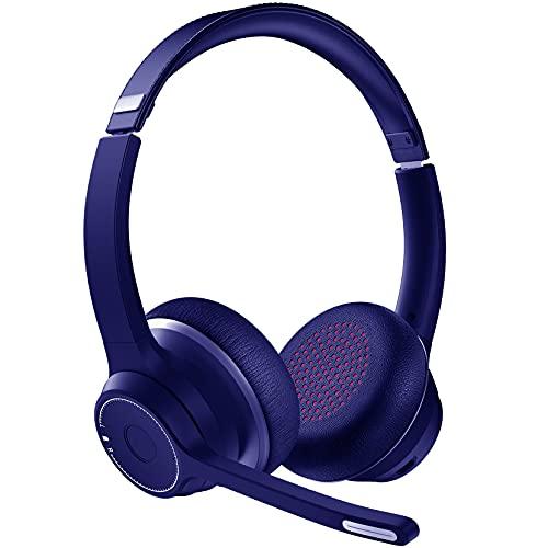 VicTsing Stereo Wireless Headset Mit Dual Mic Rauschunterdrückung, Kabellose Kopfhörer, 22h Stdn, CVC8.0 Wireless Kopfhörer,3.5mm Wired/Wireless Headset für Online-Meetings, Online-Lernen
