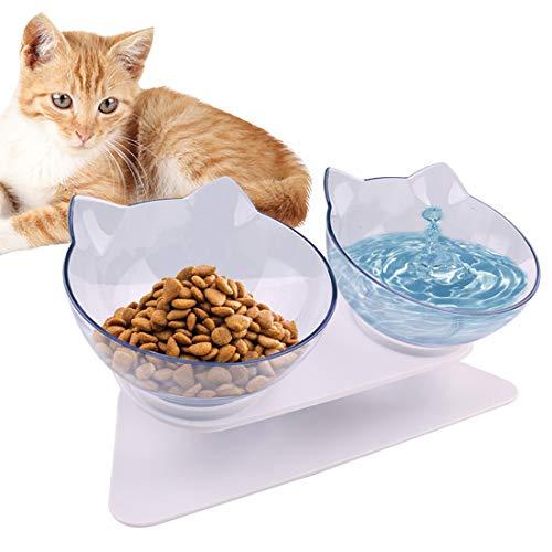 SKJIND - Comedero para mascotas con dos cuencos para comida para gatos