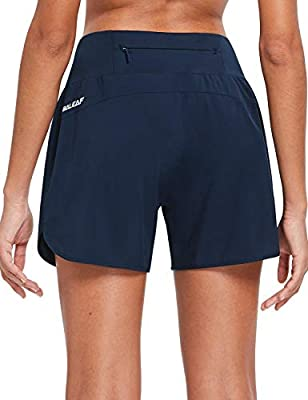 BALEAF Womens 5 Inches Knit Waistband Running Shorts with Liner Dry Fit Lounge Gym Walking Lined Shorts Back Zipper Pocket Navy Size L
