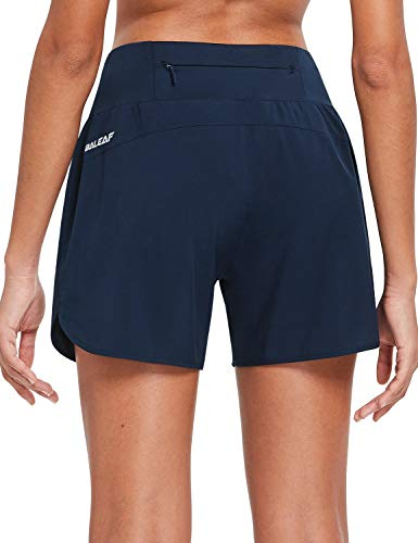 BALEAF Womens 5 Inches Knit Waistband Running Shorts with Liner Quick Dry Lounge Gym Walking Lined Shorts Back Zipper Pocket Navy Size M