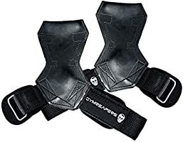 Gymreapers Weight Lifting Grips (Pair) for Heavy Powerlifting, Deadlifts, Rows, Pull Ups, with Neoprene Padded Wrist...