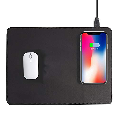 SAKURAM Wireless Charging Mousepad Mauspad/Matte mit Wireless-Ladegerät 2 in 1 Fast Induktive Ladestation Qi Wireless-Charging Schnell Mauspad Matte - Black