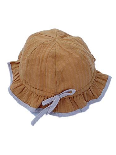AQ1 Gorro Bebe protección Sol Algodón Puro Ajuste de Color sólido Sombrero de pescador-3-10 Meses_ Azúcar de plátano