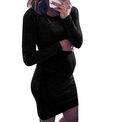 Manadlian Robe Robe Femme, de Maternité Enceinte Sexy été Mini Jupe Robe Femme Enceinte Photographie Courte Soirée Cocktail Robe Maternité Grossesse Manche Longue Mode Vetements