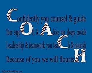 Baseball Office Decor For Coach, 8x10 Glossy Photo Paper Poem