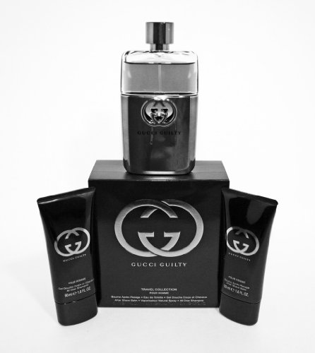 GUCCI GUILTY TRAVEL COLLECTION 3.0 OZ SPRAY, 1.6 OZ AFTER SHAVE, 1.6 OZ SHOWER GEL