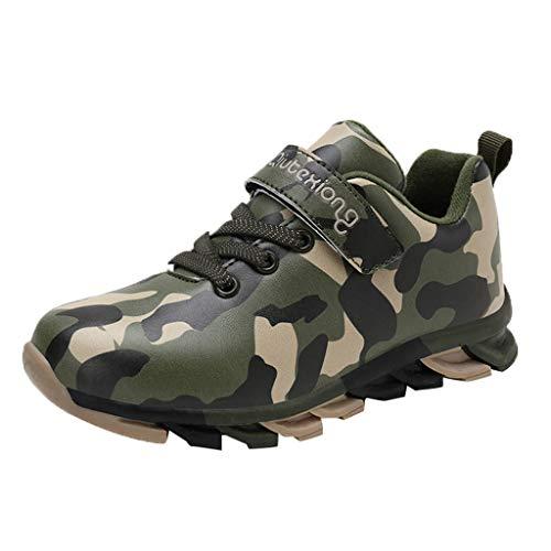 HDUFGJ Unisex - Kinder Sneaker Laufschuhe Tarnung Wasserdicht Freizeitschuhe für Mädchen Jungen Turnschuhe Basketball Schuhe Outdoor32 EU(Armee grün)