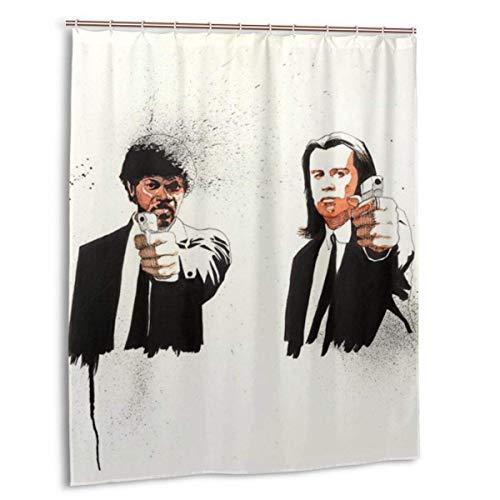 Meili Pulp Fiction Duschvorhang Lustige wasserdichte Duschvorhänge Badvorhang mit 12 Haken für Home Badezimmer Dekoration 60x72in