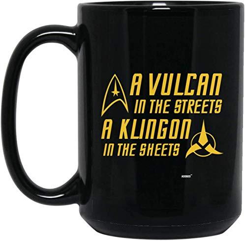 Lplpol Kaffeetasse mit Vulcan in The Streets a Klingon in The Sheets (handgefertigt, für Kaffee / Tee, 313 ml)