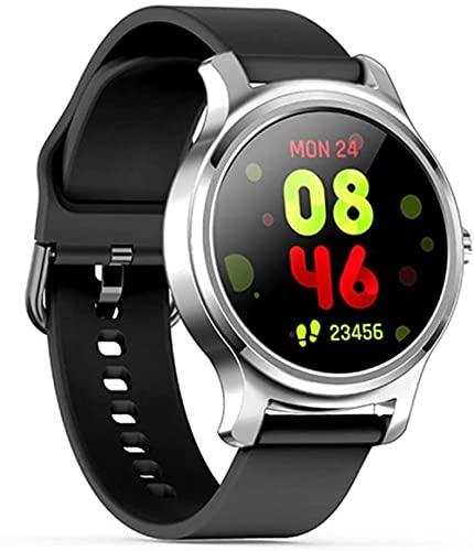 DHTOMC Reloj inteligente Bluetooth pulsera inteligente llamada información recordatorio hombres y mujeres fitness tracker-plata gris