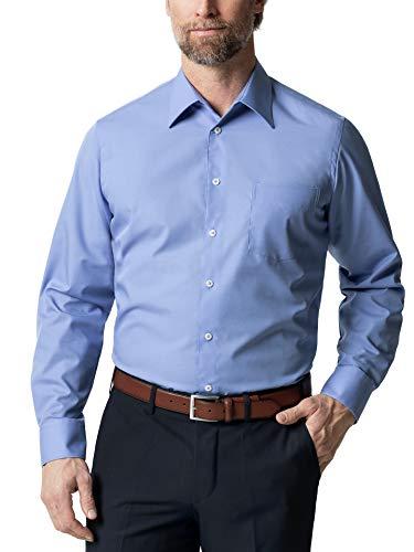 Walbusch Herren Hemd Bügelfrei Kragen ohne Knopf einfarbig Azur 45/46 - Langarm extra lang
