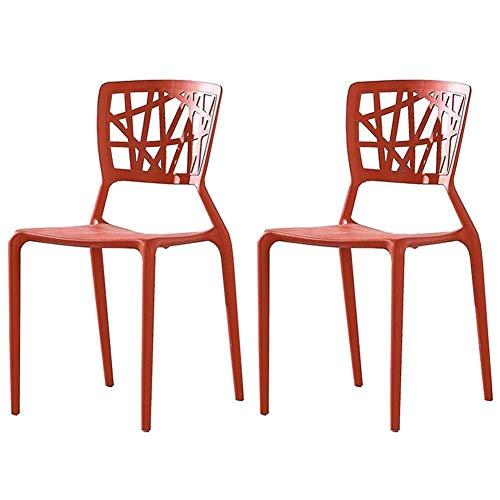 AGGF Juego de sillas de Comedor de 2 sillas de Mesa con Respaldo apilable de Estilo nórdico, Silla de plástico para café de Ocio, Silla de recepción (Color: Rojo)