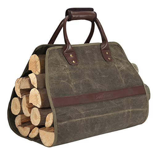 Sunflora Firewood Carrier Tote Bag with Durable Wax Canvas Large Water Resistant Log Carrier with Extra Thick Padded Handle for Easy Carrying Camping Fireplace Wood Stove Green