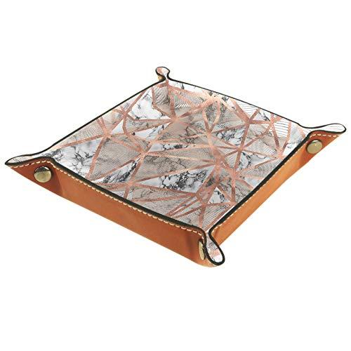 Bandeja de Cuero - Organizador - Textura de mármol de oro rosa - Práctica Caja de Almacenamiento para Carteras,Relojes,llaves,Monedas,Teléfonos Celulares y Equipos de Oficina