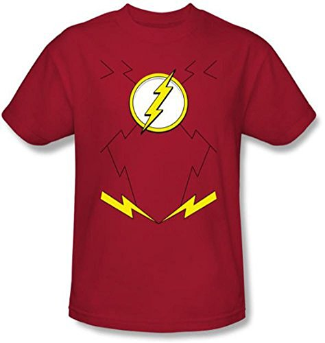 The Flash Disfraz de uniforme para adulto, camiseta roja (mediana)
