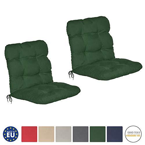 Beautissu 2er Set Niedriglehner Auflagen Set Flair NL Stuhlauflage 100x50x8cm Sitzkissen Niederlehner Gartenstuhl Stuhlkissen besonders bequem in Dunkelgrün