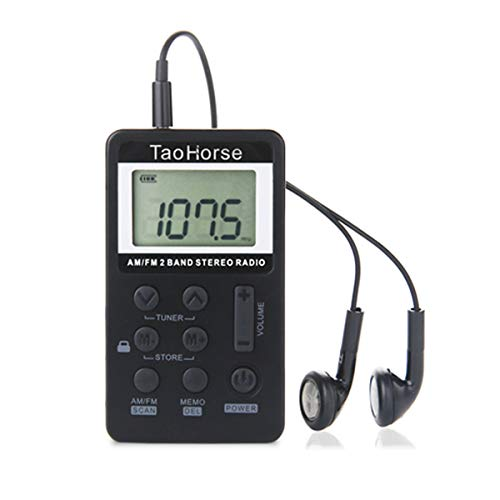 TaoHorse Portable AM FM 2-Band Radio Operated by Lithium Battery, Digital Tuning Stereo Pocket Radio with Headphones (3.5mm Jack) for Walking Jogging Hiking Camping