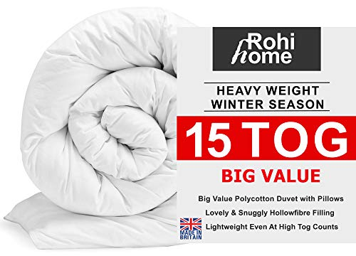 ROHI Basics Duvet & 2 Deluxe Pillows - Single, Double, King & Super King - 4.5/10.5/13.5/15 TOGS - MULTIPLE PACK OFFER!! BEST PRICE & QUALITY ON AMAZON!! (Soft Polycotton, 15.0 Tog Double Duvet & Pillow Pair (Winter))