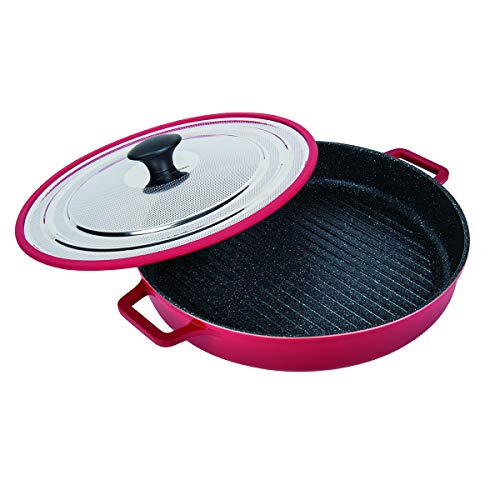 """MasterPan Non-Stick Stovetop Oven Grill Pan with Heat-in Steam-Out Lid, nonstick cookware, 12"""", Red,"""