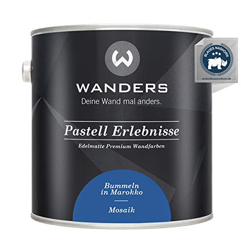 Wanders24® Pastell Erlebnisse (2,5 Liter, Mosaik) edelmatte Wandfarbe - Feine Farben - in 40 Farbtönen - Wandfarbe Grau - Made in Germany