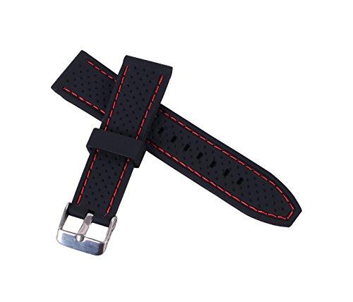 fascia 24 millimetri silicone perforato con fibbia cinturino in gomma...