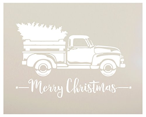 """Little Red Truck with Merry Christmas Stencil by StudioR12   for Painting Wood Signs   Vintage Script Lettering   Retro Holiday Home Decor   Rustic Old Fashioned Holiday : Choose Size (13"""" x 10"""")"""