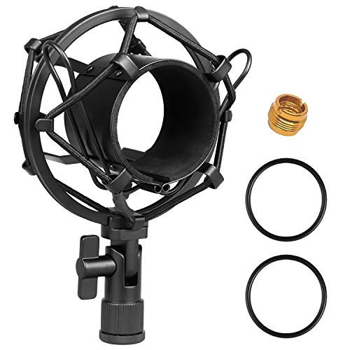 Moukey Supporto Shock Mount Universale 51MM per Microfono a Condensatore diametro 48MM-54mm Supporto Antivbrazione per Audio-technica AT2020 USB PR40 RE20 AT4033a AT2050