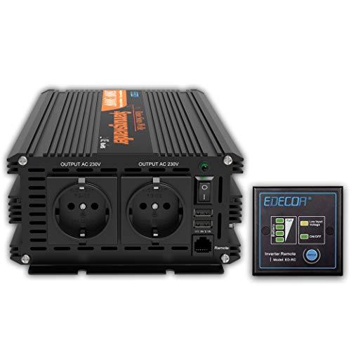 EDECOA Transformador 24v 220v ONDA PURA 2500w Convertidor para camion con mando a...